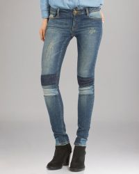 Maje Jeans Slim Patch Detail in Denim - Lyst