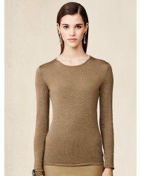 Ralph Lauren Silk-Blend Crewneck Sweater - Lyst