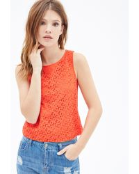 Forever 21 Crochet Bow Patterned Top - Lyst