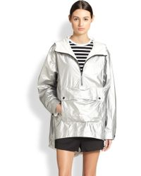 T By Alexander Wang Coated Metallic Hooded Pullover Anorak - Lyst