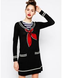 Love Moschino Long Sleeve Jumper Dress with Sailor Neck - Lyst