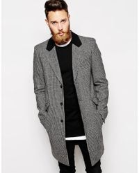 Asos Wool Overcoat in Houndstooth - Lyst