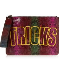 House of Holland Bag Of Tricks Embroidered Snake-Effect Leather Clutch - Lyst