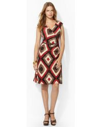 Lauren by Ralph Lauren Cap-sleeved Faux-wrap Dress - Lyst