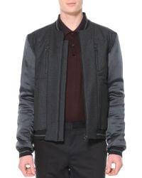 Lanvin Wool and Satin Varsity Jacket - Lyst