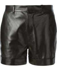 Saint Laurent Black Cuffed Shorts - Lyst