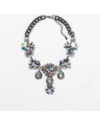 Zara Silver Multicolour Necklace - Lyst
