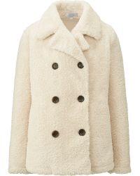 Uniqlo Women Faux Shearling Fleece Pea Coat - Lyst