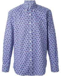 Canali Check And Floral Print Shirt - Lyst