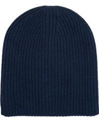 Barneys New York Blue Double-Face Beanie - Lyst