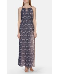 Karen Millen Printed Pleat Maxi Dress - Lyst