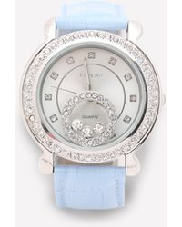 Bebe - Crystal & Leather Watch - Lyst