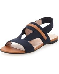 Stuart Weitzman Here To Stay Stretch Slingback Sandal Navy - Lyst