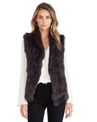 June Semi Long Hair Rabbit Fur Vest - Lyst