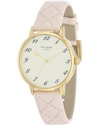 Kate Spade Metro Goldtone Stainless Steel & Quilted Leather Strap Watch/Pink gold - Lyst