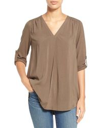 Pleione | Mixed Media V-neck Tunic | Lyst