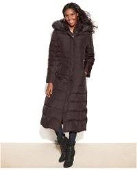 DKNY Faux Fur Trim Hooded Maxi Down Coat - Lyst
