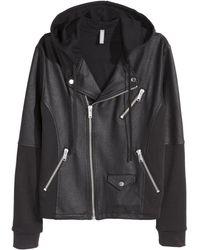 H&M Jersey Biker Jacket black - Lyst