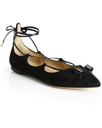 Ferragamo | By Edgardo Osorio Claire Suede Lace-up Bow Flats | Lyst