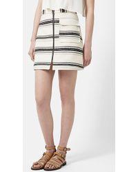 Topshop Zip Front A-Line Skirt - Lyst