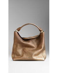 Burberry Medium Metallic Signature Grain Leather Hobo Bag - Lyst