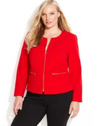 Calvin Klein Plus Size Collarless Zip-front Jacket - Lyst
