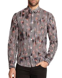 McQ by Alexander McQueen Striped Floral Woven Sportshirt - Lyst