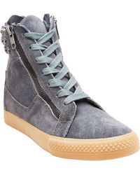 Betsey Johnson Skull Suede Zip High Top Sneakers - Lyst