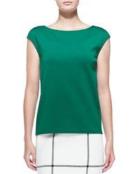 St. John Milano Knit Bateau-neck Cap-sleeve Shell - Lyst