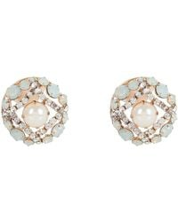 River Island Gold Tone Pearl and Mint Stone Stud Earrings - Lyst