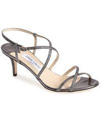 Jimmy Choo 'Elisa' Glitter Strap Sandal - Lyst