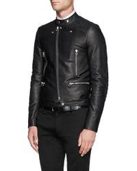 Lanvin Asymmetrical Zip Leather Biker Jacket - Lyst
