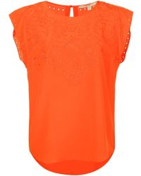 Veronica Beard   Melia Embroidered Shell Top Scarlet   Lyst