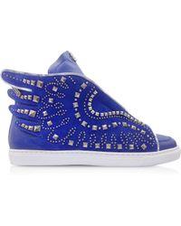 Roberto Cavalli - Electric Blue Leather Sneaker - Lyst