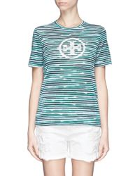 Tory Burch 'Cathy' Stripe Monogram T-Shirt - Lyst