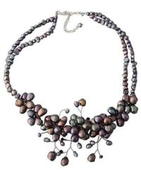 Aeravida - Gorgeous Sakura Black Pearl Flower .925 Silver Necklace - Lyst