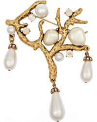 Oscar de la Renta Coral Gold-Plated, Crystal And Faux Pearl Brooch - Lyst