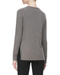 J Brand Eugenia Crewneck Cashmere Sweater Armour Heather - Lyst