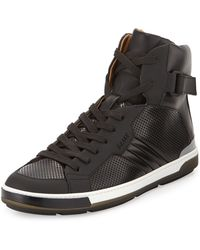 Bally Perforated Leather High-top Sneaker - Lyst