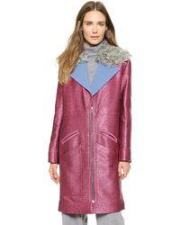 Rodarte - Glitter Coat With Shearling Collar - Fuchsia - Lyst