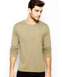 Asos Long Sleeve Tshirt with Pocket - Lyst