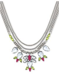 Jessica Simpson - Silvertone Clear and Yellow Crystal Stone Frontal Necklace - Lyst