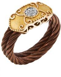 Charriol Women'S Celtique Rose 18K Gold And Bronze-Tone Diamond .05Tcw Ring - Lyst