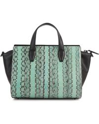 Alexander Wang Pelican Green And Black Elaphe And Leather Tote
