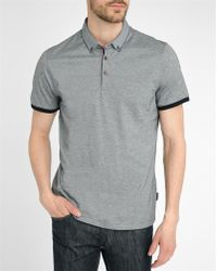 Ted Baker | Micro-dots Collar Marled Jersey Polo Shirt | Lyst