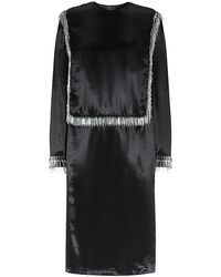 Lanvin Beaded Satin Midi Dress - Lyst