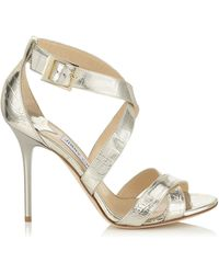 Jimmy Choo Melvin Velvet and Metallic Leather Sandals - Lyst