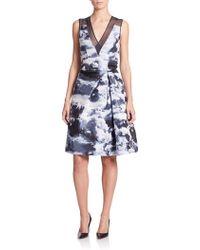 Carolina Herrera | Cloud Print Silk-trimmed Dress | Lyst