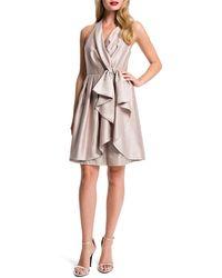 Cynthia Steffe Nettie Shimmer Halter Cascade-Front Dress pink - Lyst