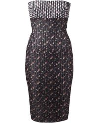 Victoria Beckham Floral Strapless Fitted Dress - Lyst